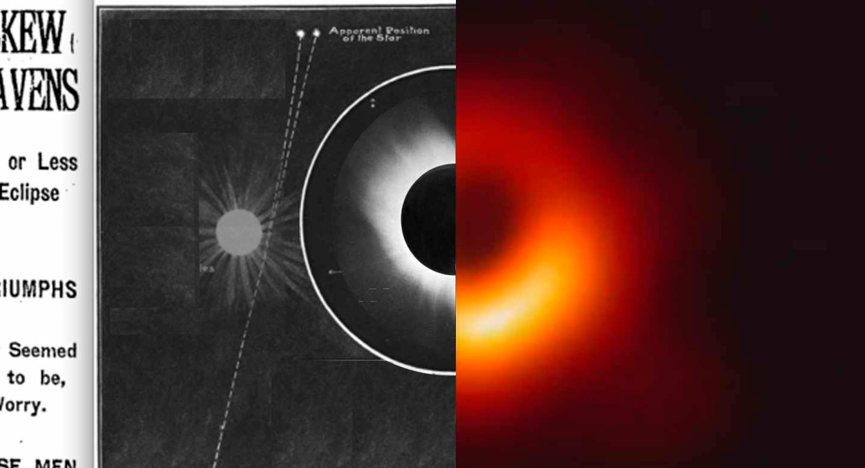 Foto del eclipse solar de 1919 y agujero negro de 2019