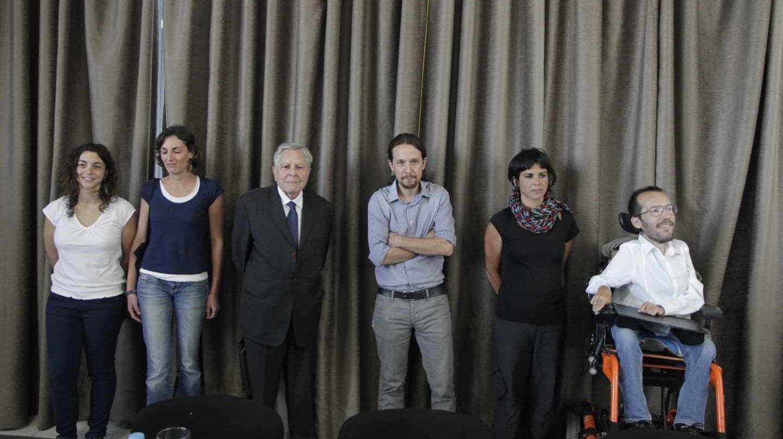 Tania González, Lola Sánchez, Carlos Jiménez Villarejo (tomó posesión y dimitió), Pablo Iglesias, Teresa Rodríguez y Pablo Echenique.