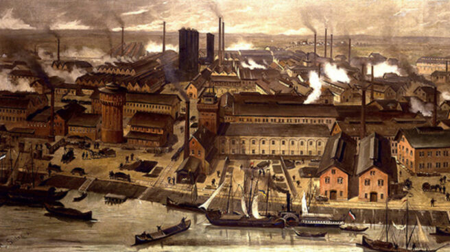 Fábrica alemana de BASF en 1881