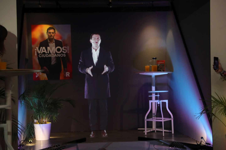 El holograma de Albert Rivera, en la sede de Ciudadanos.