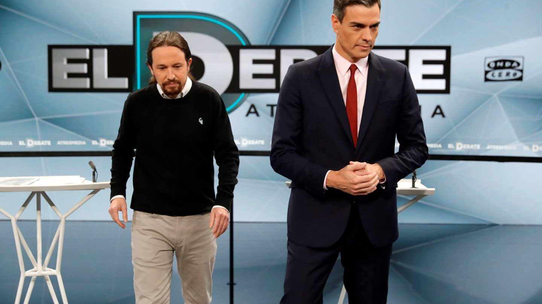 Pablo Iglesias y Pedro Sánchez, antes de uno de los debates de cara a las generales del 28A.