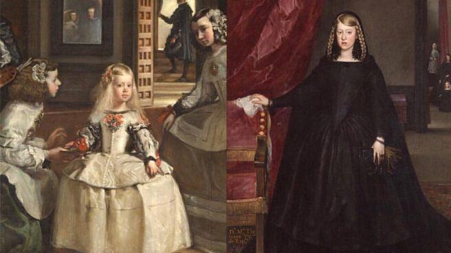 La infanta Margarita, a los 5 y a los 15 años.