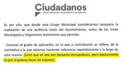 Pantallazo del documento registrado por Ciudadanos en el Ayuntamiento de Málaga.