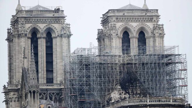 Estado de Notre-Dame de París tras el incendio.