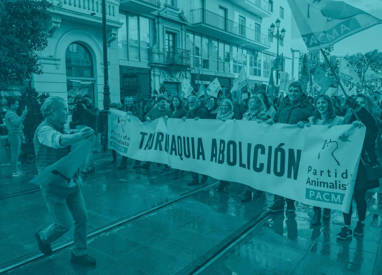 Un ciudadano a favor de la tauromaquia durante la Manifestación Antitaurina convocada por el Partido Animalista en Sevilla.