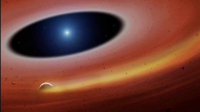 Recreación de los restos de un planeta arrasado por su estrella