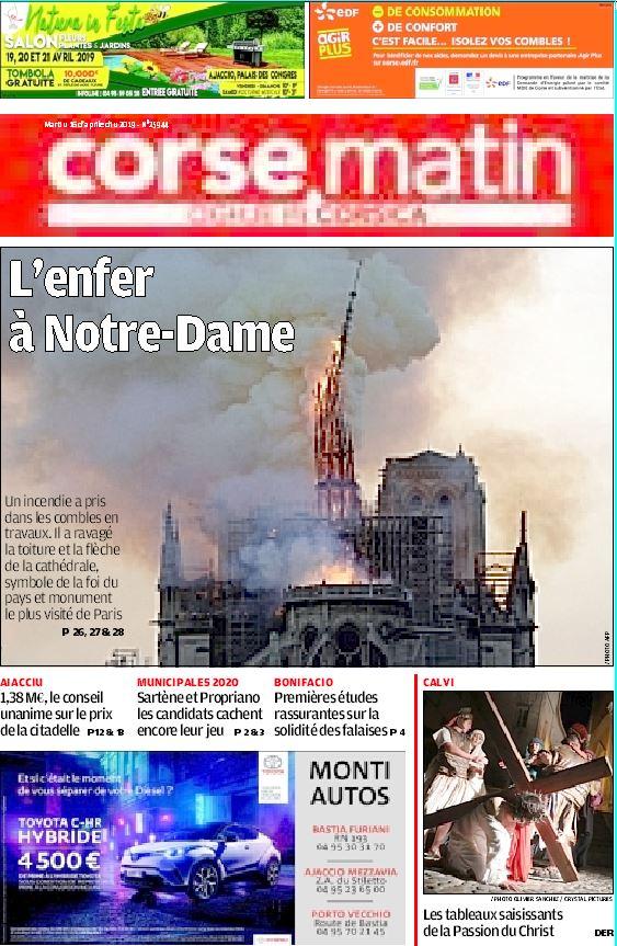 """Corse Matin: """"El infierno en Notre-Dame"""""""
