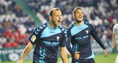 Román Zozulia celebra un gol con el Albacete.