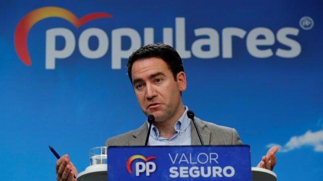 El secretario general del PP, Teodoro García Egea, valorando los resultados del 28-A este lunes.