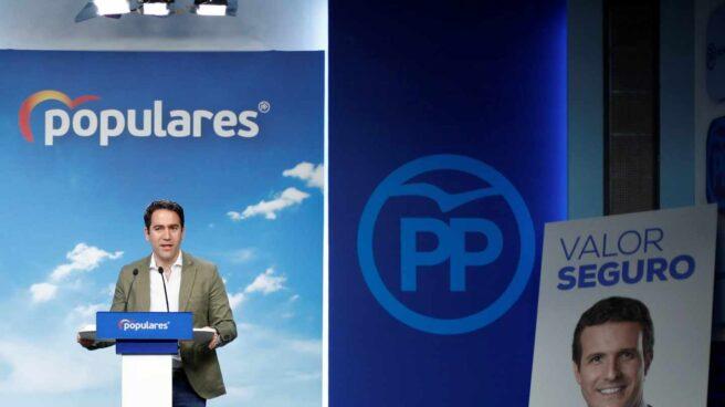 Teodoro García Egea, secretario general del PP, en una rueda de prensa junto a un cartel de Pedro Casado.