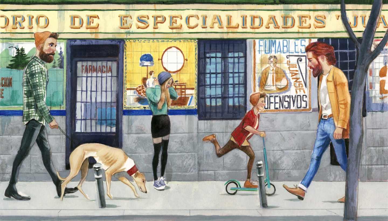 Ilustración de la farmacia de la calle San Vicente Ferrer