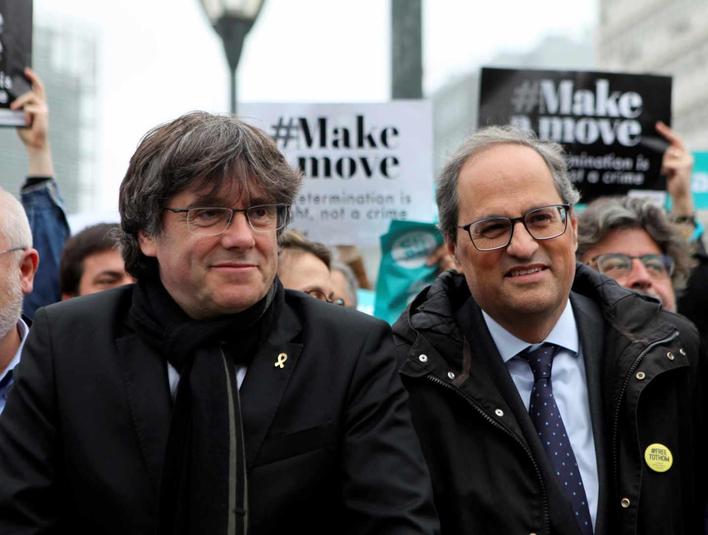 Puigdemont y Torra, en Bruselas.