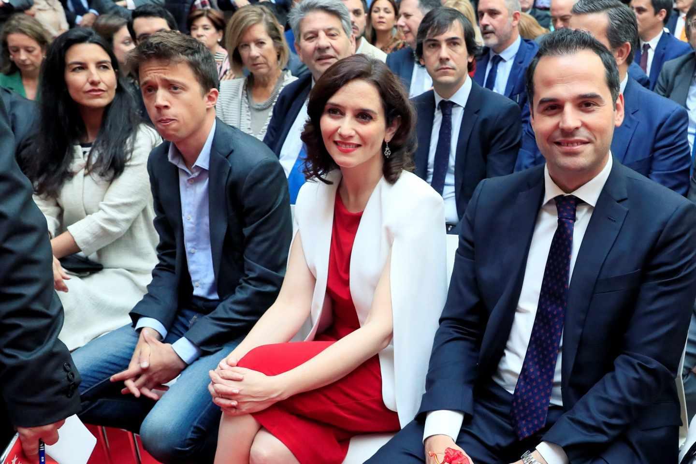 Los candidatos a la presidencia de la Comunidad Rocio Monasterio, Íñigo Errejón, Isabel Díaz Ayuso e Ignacio Aguado