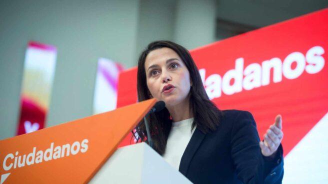 Inés Arrimadas en la sede de Ciudadanos de Madrid.