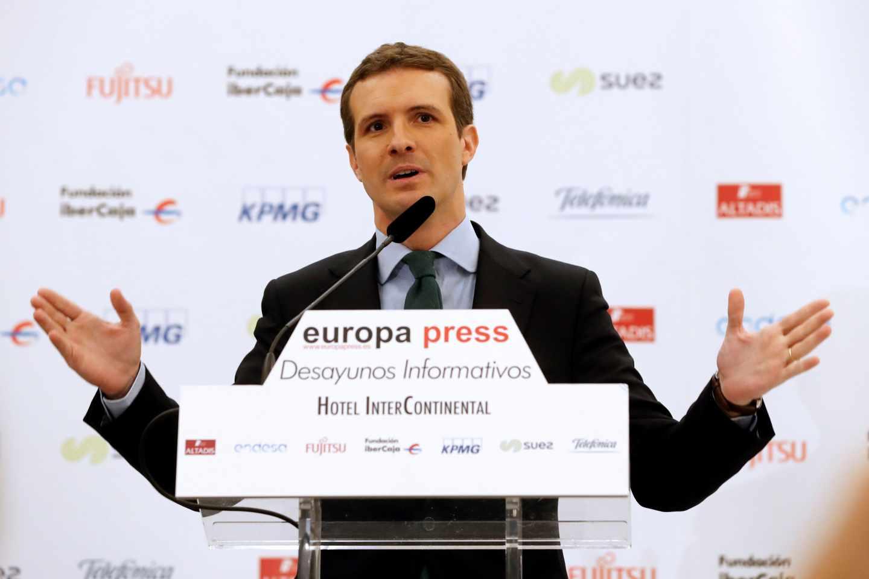 Pablo Casado durante su intervención en los desayunos de Europa Press