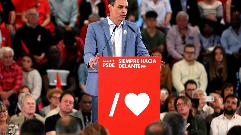 El secretario general del PSOE, Pedro Sánchez, durante el mitin en Zaragoza