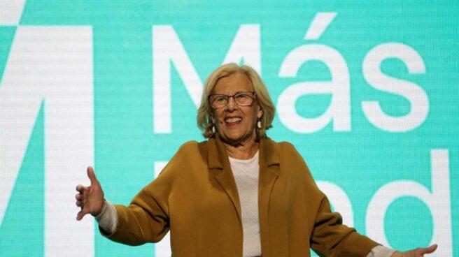 Manuela Carmena, en un acto electoral de Más Madrid.