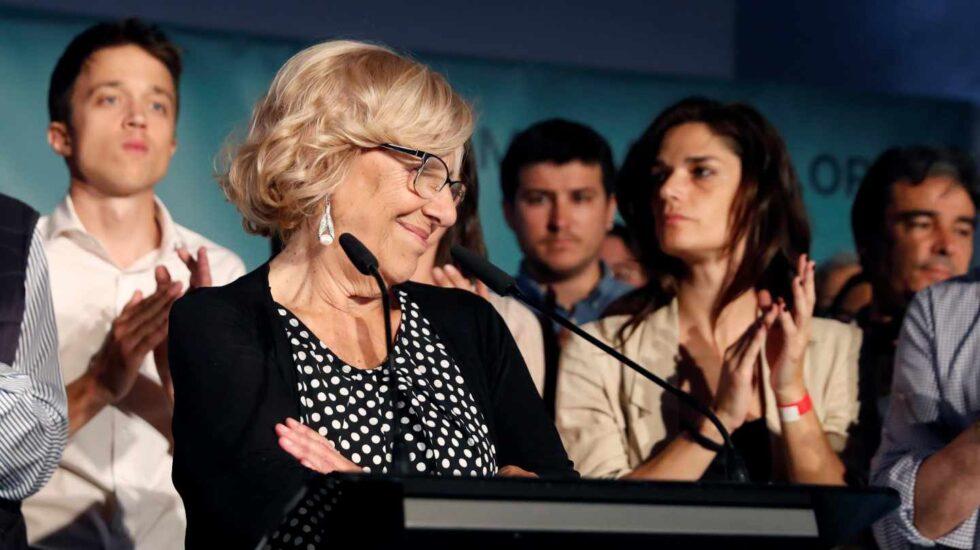 Manuela Carmena tras los resultados electorales.