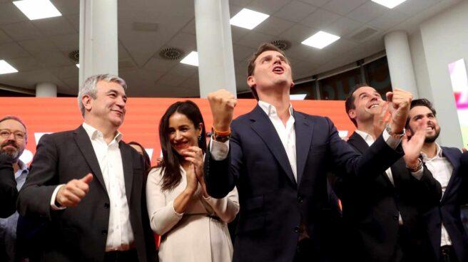 El líder de Ciudadanos, Albert Rivera, en la sede del partido tras los resultados electorales.