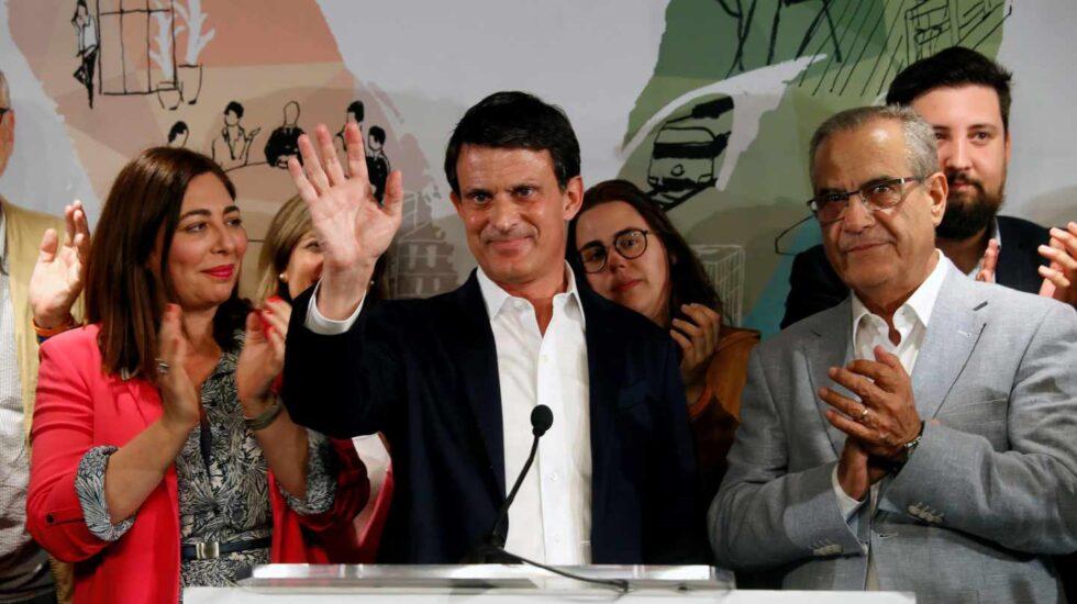 El ex primer ministro francés y candidato a la alcaldía de Barcelona, Manuel Valls, en su sede electoral tras conocer los resultados de las municipales