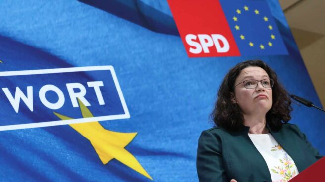 Andrea Nahles, líder socialdemócrata alemana, en rueda de prensa en Berlín.