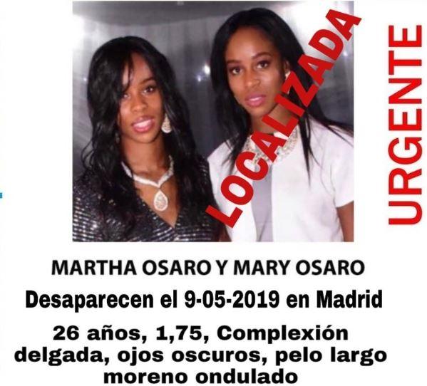 Cartel de búsqueda de las hermanas Osaro.