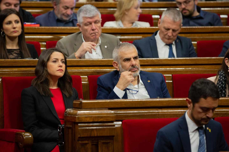 El actual líder de Ciudadanos en Cataluña, Carlos Carrizosa, junto a la ya diputada electa para el Congreso, Inés Arrimadas.