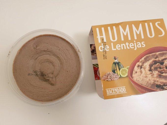Hummus de lentejas de la marca Hacendado.