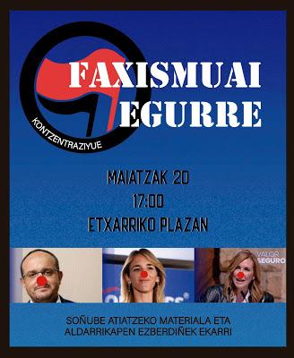 Cartel anunciador de la movilización convocada para esta tarde en Etxarri Aranatz.