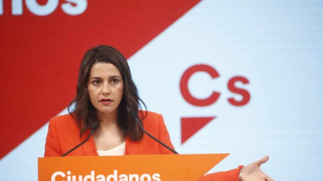 Inés Arrimadas en la sede de Ciudadanos en Madrid.