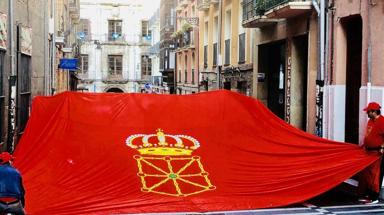 Manifestación en Pamplona en defensa de la bandera navarra,