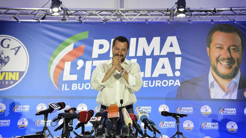 Matteo Salvini, líder de la Liga, celebra su victoria en las europeas.