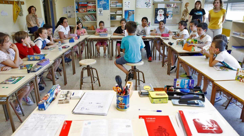 Un aula de un colegio en Galicia