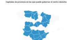 Capitales de provincia en las que suma mayoría absoluta el centro-derecha.