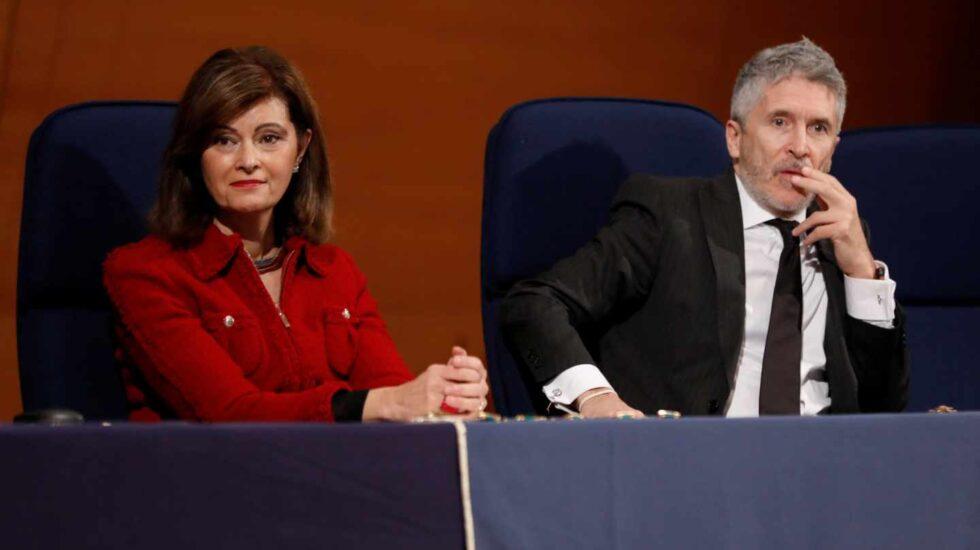 La secretaria de Estado de Interior, Ana Botella, y el ministro del Interior en funciones, Fernando Grande-Marlaska.