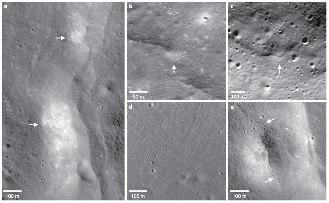 Posibles pruebas de actividad tectónica pareja a fallas de la Luna