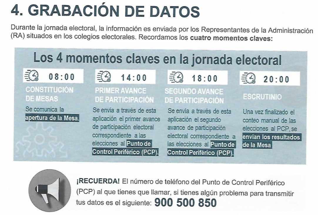 Información extraída del folleto con las indicaciones facilitadas a los representantes de la Administración con vistas a las elecciones del 26-M.