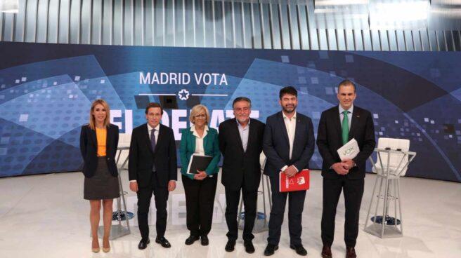 Los candidatos a la alcaldía de Madrid, en el debate de Telemadrid.