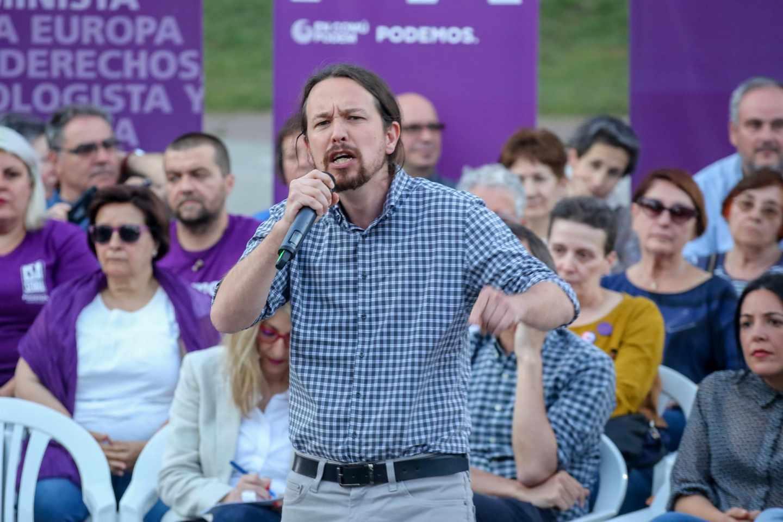 Pablo Iglesias durante el acto de cierre de campaña en Tenerife.