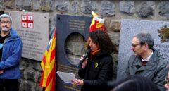 La directora general de Memoria Democrática de la Generalitat, Gemma Domènech, durante su discurso en Mauthausen.