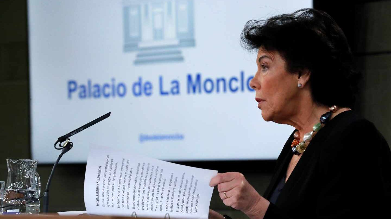 Isabel Celáa, en rueda de prensa tras el Consejo de Ministros.