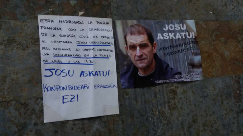 Homenaje a Josu Ternera en su localidad natal, tras la detención del terrorista.