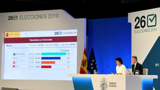 Isabel Celáa y Fernando Grande-Marlaska comunican los resultados el pasado 26-M.