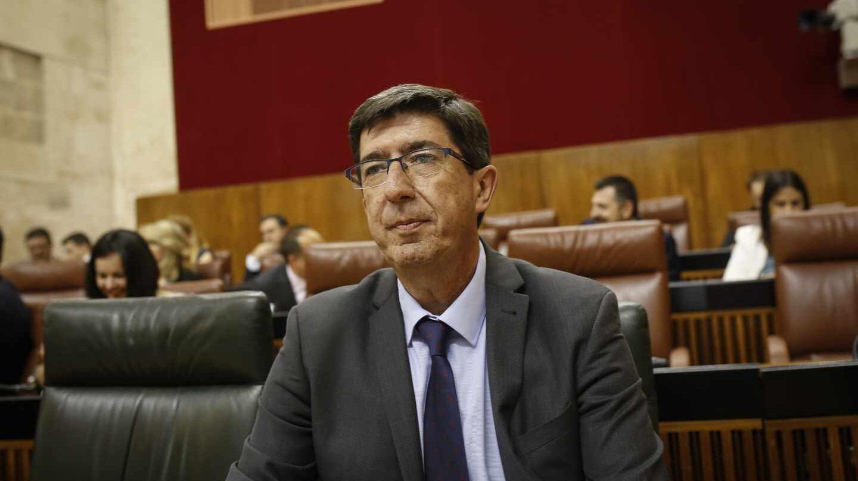 El líder de Ciudadanos en Andalucía, Juan Marín, en el Parlamento andaluz.