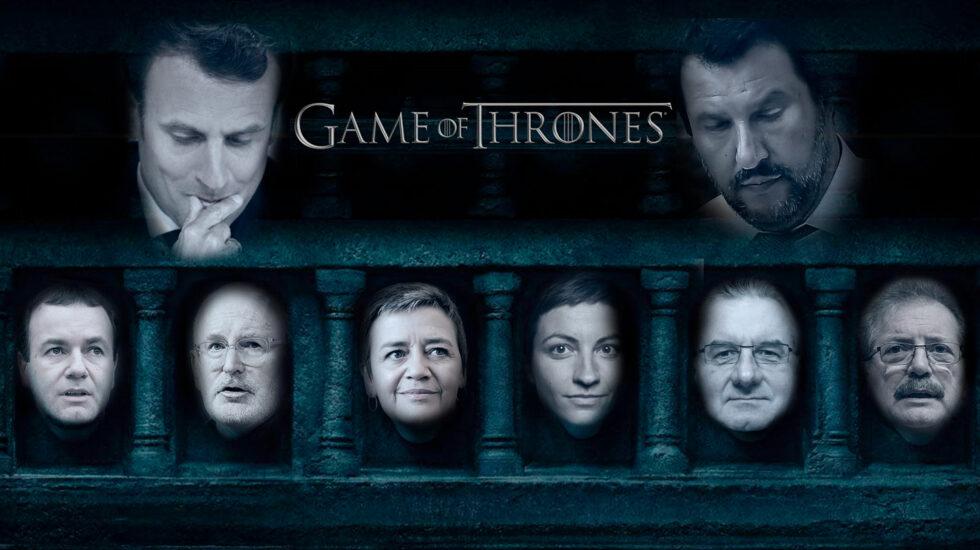 Macron y Salvini, en lucha soterrada por el futuro de la UE, observan a los aspirantes de los principales grupos políticos del Parlamento.