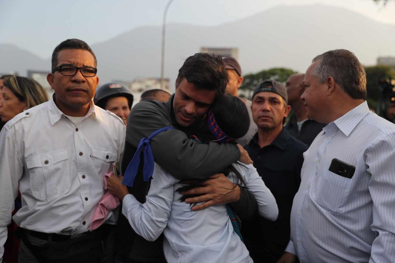 Leopoldo López, en Caracas tras su liberación.