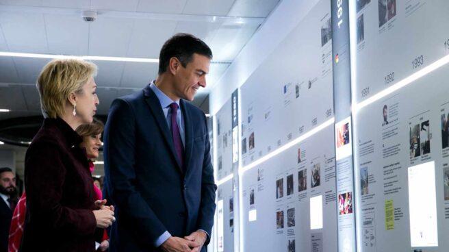 La comisaria Marcos y Pedro Sánchez, el pasado 18 de febrero en la inauguración del nuevo Centro de Mando y Seguridad (del Complejo de La Moncloa.