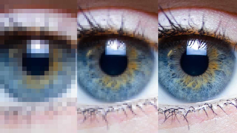A píxeles más grandes, menor definición de la imagen