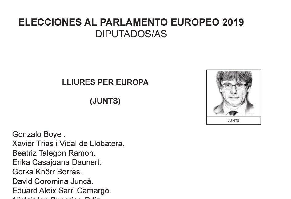 Imagen de la papeleta de Puigdemont.