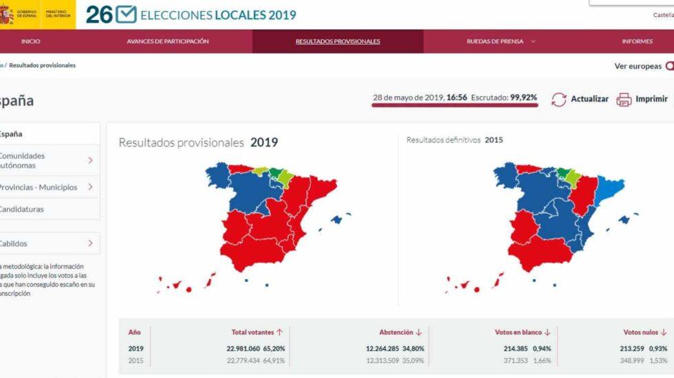 Captura de la web de consulta de los resultados de las elecciones municipales.